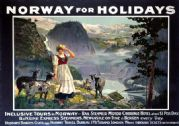 Norway for Holidays. Vintage B&N Line Travel Poster print, c1930
